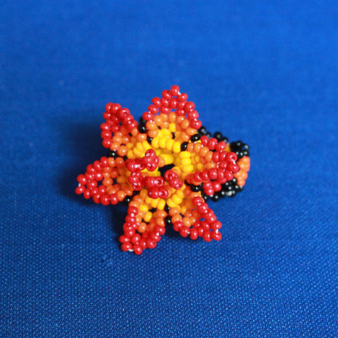 Red Beaded Flower Ring