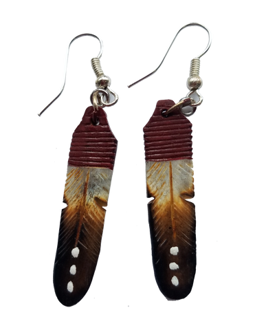 Rust Brown, Sand, & Black Feather Earrings