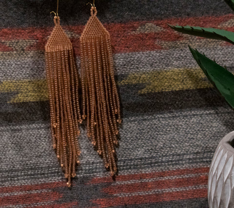 Fringe Earrings- Peach Delica and Miyuki Beads