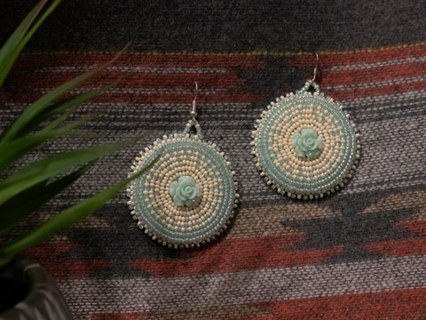 Teal Rosette Earrings