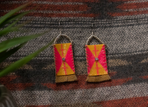 Parfleche Pink and Orange Earrings