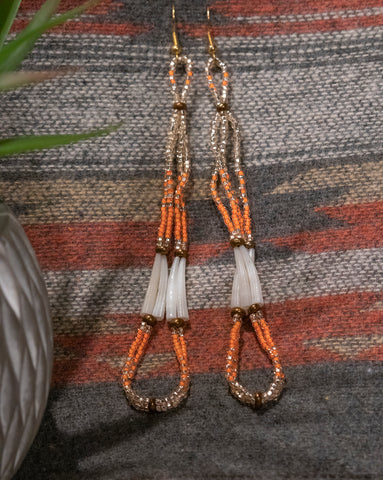 Dentalium Loop Earrings - Orange