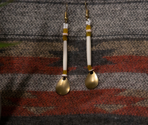 Mini Hairpipe Brass Drop Earrings- Butterscotch
