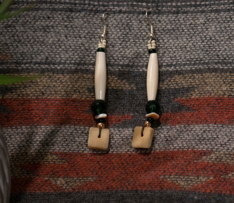 Bone Drop Earrings- Green