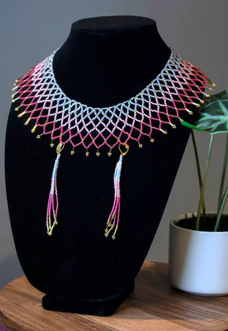 Rose Petal Collar Necklace w/ Fringe Earrings