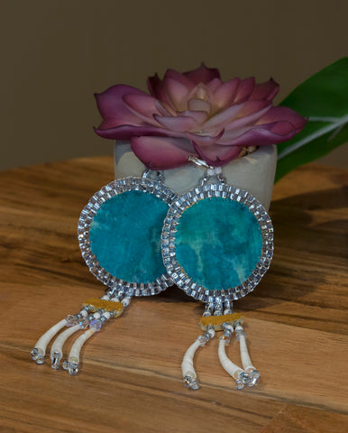 Teal Fabric and Dentalium Earrings