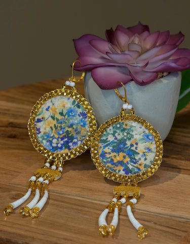Round Fabric and Dentalium Earrings