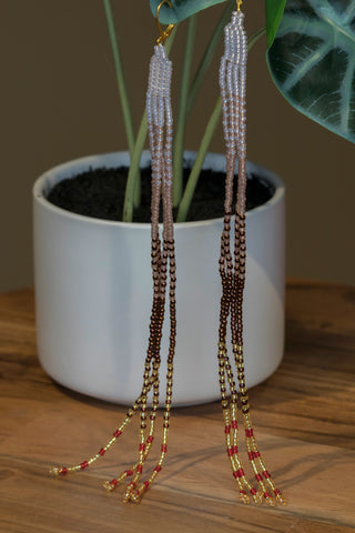 Long Brown Fringe Earrings