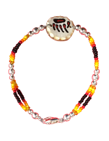 Elkhorn bone-carved bracelet with Red Bear Claw & Black Beads