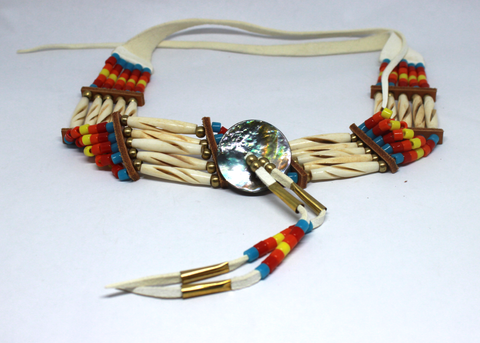 Red, Orange, Turquoise, and Yellow 5-Bone Choker