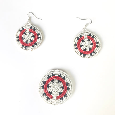 Navajo Basket Design Beaded Hair Barrette and Earrings