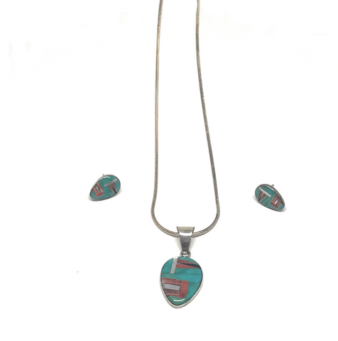 Turquoise Necklace & Stud Earrings