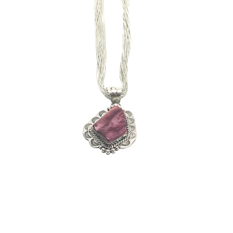 Spiny Oyster Pendant with 20 Strand Sterling Silver Necklace