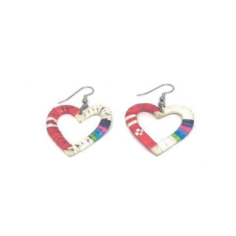 Red Heart Quilled Earrings