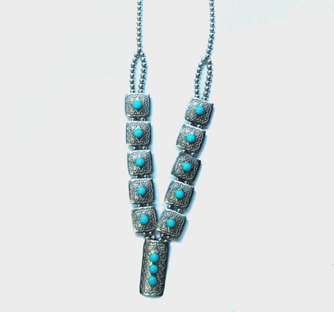 Nickle Sterling Silver and Turquoise Squash Necklace