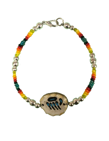 Elkhorn bone-carved bracelet with Blue Bear Claw & Turquoise Beads