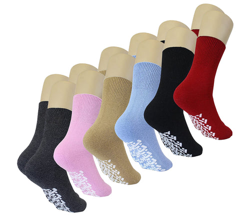 12 Pairs of Womens Non Skid/Slip Diabetic Medical Socks, Cotton With Rubber Gripper Bottom, Assorted Colors, Size 9-11
