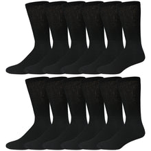 Load image into Gallery viewer, Black Cotton Diabetic Neuropathy Crew Socks With Loose Top 12 Pairs Pack