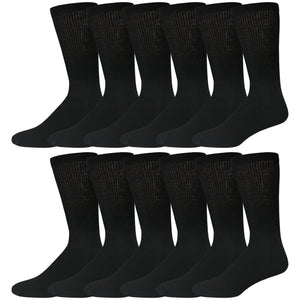 Black Cotton Diabetic Neuropathy Crew Socks With Loose Top 12 Pairs Pack
