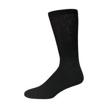 Load image into Gallery viewer, Black Cotton Diabetic Crew Sock With Loose Top