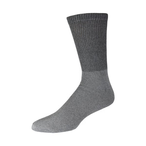 Grey Soft Cotton Diabetic Crew Sock With Non-Binding Top