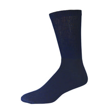 Load image into Gallery viewer, Navy Cotton Diabetic Crew Sock With Non-Binding Top
