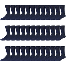Load image into Gallery viewer, Navy Cotton Diabetic Neuropathy Crew Socks With Non-Binding Top 180 Pairs Bulk