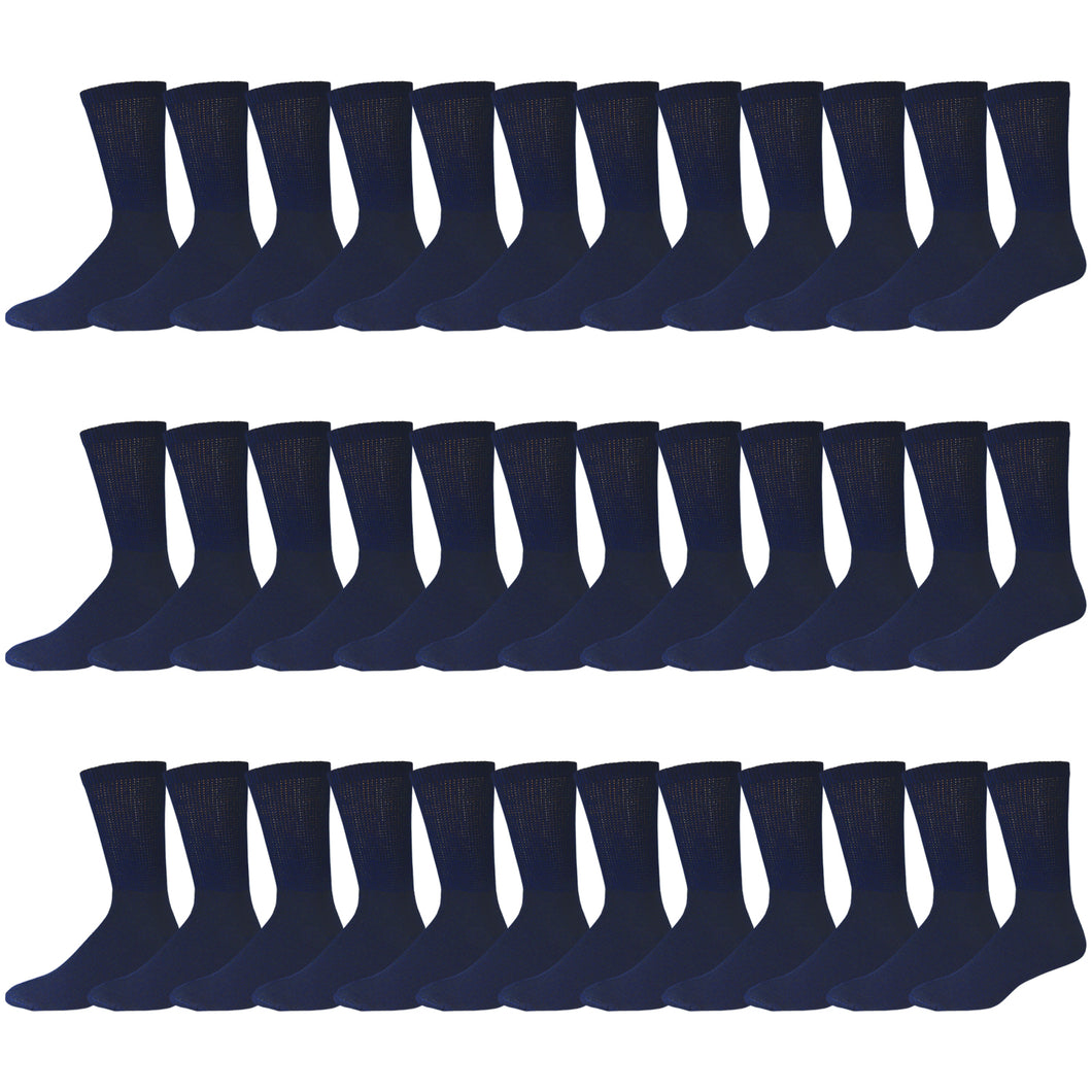 Navy Cotton Diabetic Neuropathy Crew Socks With Non-Binding Top 180 Pairs Bulk