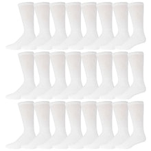 Load image into Gallery viewer, White Cotton Diabetic Neuropathy Crew Socks With Non-Binding Top 60 Pairs Bulk