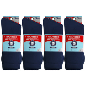 Packs Of Navy Cotton Crew Socks Recommended To People With Symptoms Of Diabetes Edema And Neuropathy