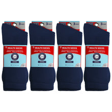 Load image into Gallery viewer, Packs Of Navy Cotton Crew Socks Recommended To People With Symptoms Of Diabetes Circulatory Problems Or Neuropathy