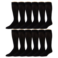 Load image into Gallery viewer, 12 Pairs of Extra Long Over-The-Calf Cotton Tube Athletic Socks, Size 11-16