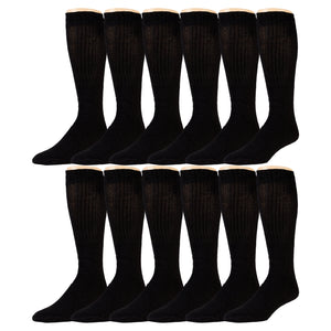 12 Pairs of Extra Long Over-The-Calf Cotton Tube Athletic Socks, Size 11-16