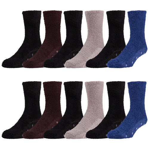 12 and 6 Pairs of Soft Non Skid Socks, Fuzzy Hospital Socks, Size 10-13