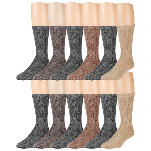Dark Assorted  Merino Wool Blend Crew Thermal Socks - 12 Pairs