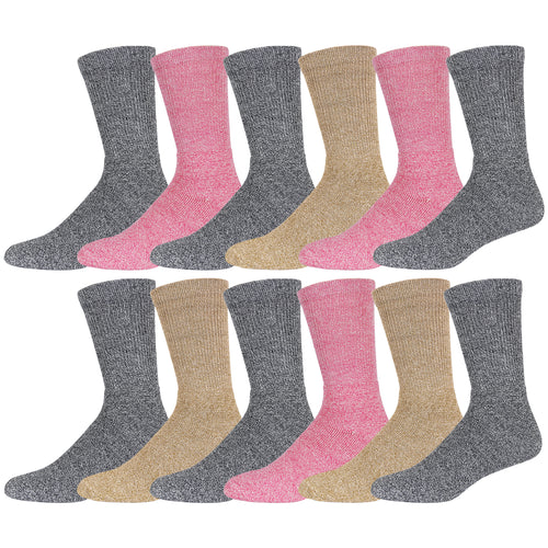 Light Assorted Merino Wool Blend Crew Thermal Socks - 12 Pairs Pack