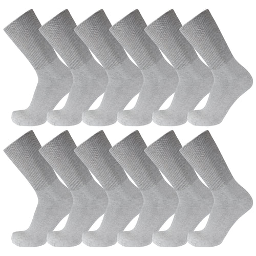 Grey Premium Cotton Diabetic Crew Socks With Loose Top 12 Pairs