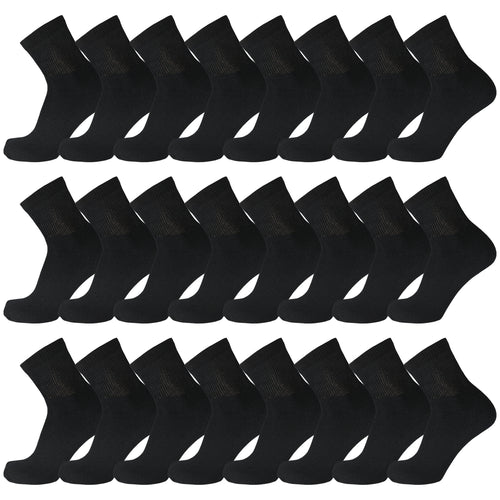 Black Diabetic Quarter Length Sport Cotton Socks 60 Pairs Bulk Pack