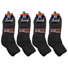 Load image into Gallery viewer, Packs Of Black Athletic Socks Recommended For Symptoms Of Diabetes Edema And Neuropathy Cotton Blend