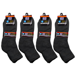 Packs Of Black Athletic Socks Recommended For Symptoms Of Diabetes Edema And Neuropathy Cotton Blend