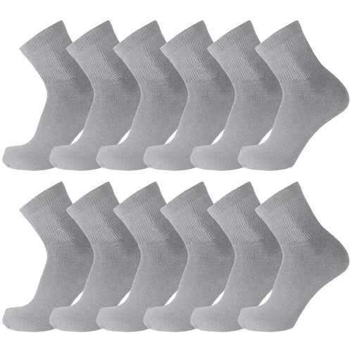 12 Pairs of Diabetic Cotton Athletic Sport Quarter Socks (Grey)