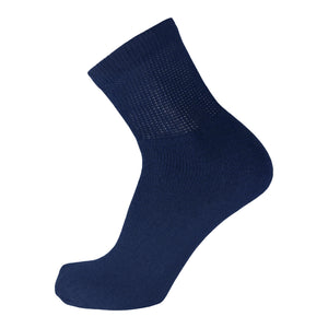 Navy Diabetic Quarter Length Sport Cotton Sock With Loose Top