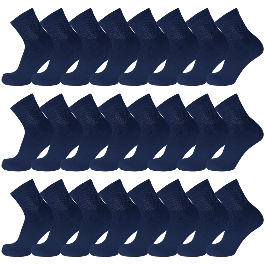 Navy Diabetic Quarter Length Sport Cotton Socks 60 Pairs Bulk