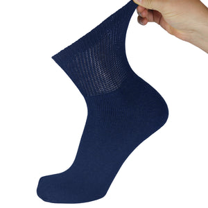 Navy Diabetic Quarter Length Athletic Sport Cotton Sock With Stretched Out Top