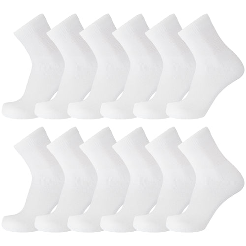 White Diabetic Quarter Length Sport Ringspun Cotton Socks 12 Pairs Pack