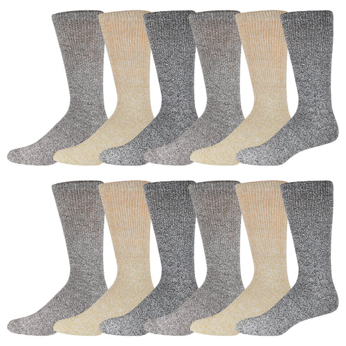 Multicolored Soft Non Binding Diabetic Crew Socks 12 Pairs
