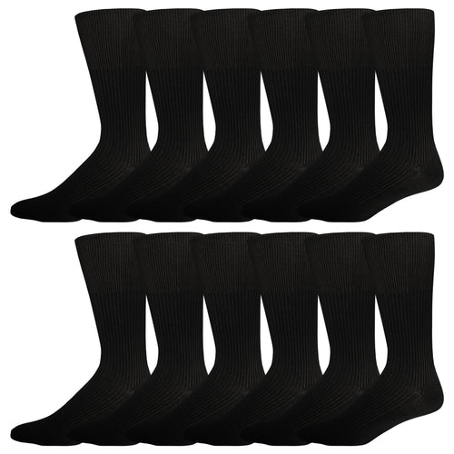 12 Pairs of Dress Diabetic Crew Socks with Non-Binding Top (Black)