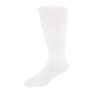 6 pairs Extra Wide Diabetic Socks, Crew/Over-the-Calf  Medical Swollen Feet Socks (White)