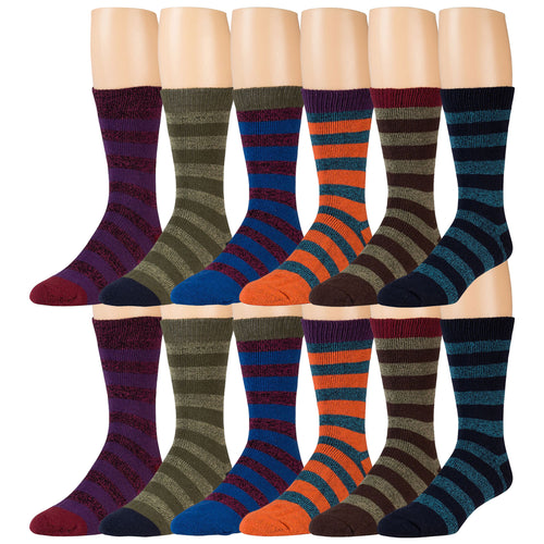 Assorted Striped Winter Thermal Crew Boot Socks - 12 Pairs