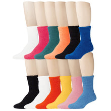 Load image into Gallery viewer, 12 Pairs of Fuzzy Plush Colorful Slipper Socks, Assorted Solids, Size 9-11